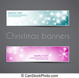 Set of vector christmas / New Year horizontal banners