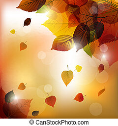 Autumn vector leafs background- fall illustration with back...