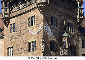Nassauer house of Nuremberg with sundial
