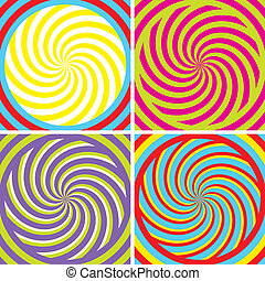 Illusion - Set of four bright hypnotic Poster