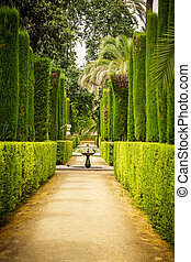 Garden of the Poets in Alcazar, Sevilla - Garden of the...
