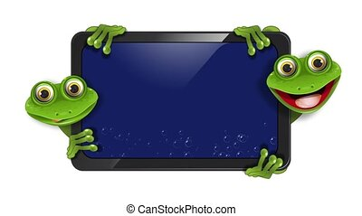 two frogs - two green frogs with gadget