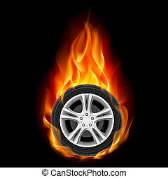 Car Wheel on Fire Illustration on black