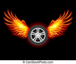 Wheel with Wings - Wheel with fire wings Illustration on...