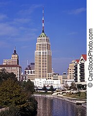View along river, San Antonio, USA - View along the San...