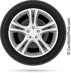 Car wheel Illustration on white background for design