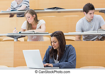 Students in a lecture with one using laptop - Students in a...