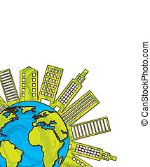 ecology city over planet with space for copy. vector...