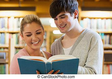 站立, 夫婦, 書, 藏品, 圖書館