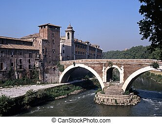 Bridge to Tiber Island, Rome - Bridge to Tiber Island, River...