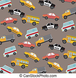 cars pattern - cute cars pattern, vintage style. vector...