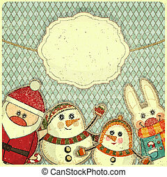 Retro design of Christmas and New Year's card