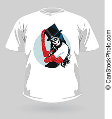 Vector illustration of t-shirt with Sugar Skull girl for...