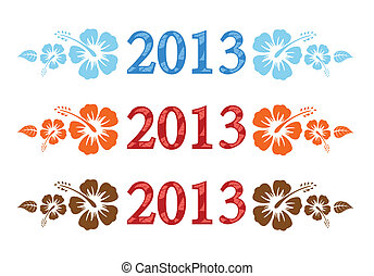 Vector colorful aloha 2013 text with hibiscus isolated on...