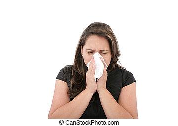 Um, mulher, gelado, ou, alergia, limpar, ou, soprando, dela,...