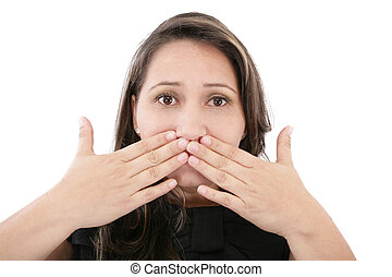 Beautiful young woman covering the face with her hands, isolated on a white background