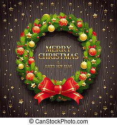 Vector Christmas wreath - Vector illustration - Christmas...