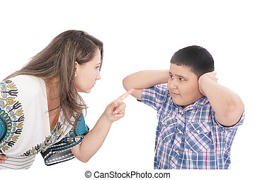Mother scolding her son with pointed finger