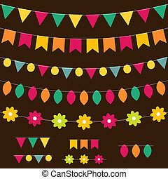 Vector bunting and garland set on dark background.