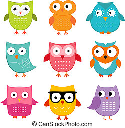 Owls vector set
