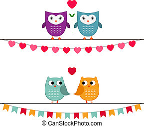Owl couples with bunting vector set