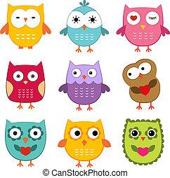 Owls vector set