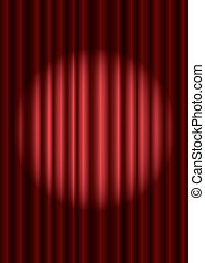 Closed red theater curtain with spotlight in the center, EPS10