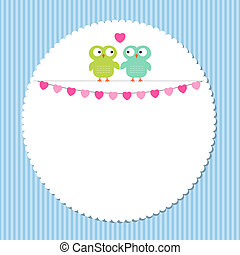 Vector frame with owl couple