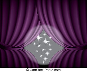 Violet curtain background with spotlight in the center, illustration