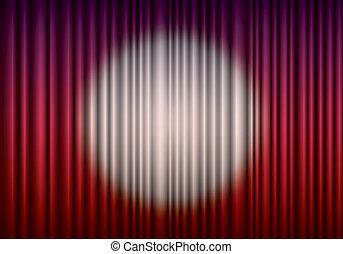 centro,  eps10, fechado, Cortina, teatro, holofote, vermelho