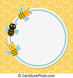 Vector bees cute frame