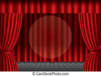 Closed red theater curtain with spotlight in the center,...
