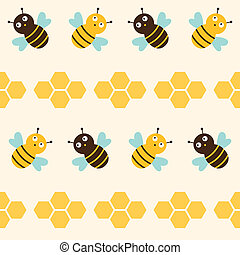 Seamless vector pattern with bees
