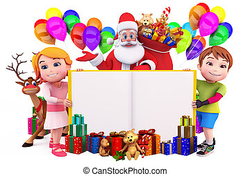 santa claus with sign and kids - 3d art illustration of...