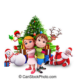 kids with christmas tree - 3d art illustration of kids with...