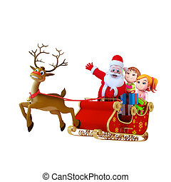 santa with sleigh and reindeer - 3d art illustration of...