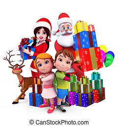 santa girl with gifts and kids - 3d art illustration of...
