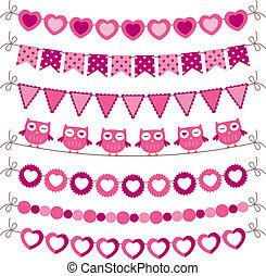 Bunting and garland pink vector set