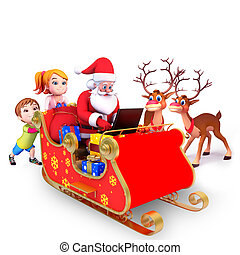santa with his sleigh - 3d art illustration of santa with...