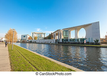 River Spree and bundeskanzleramt in Berlin, Germany