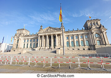 Bundestag - Security barrier in front of the Bundestag in...