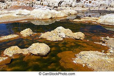 extreme acidic river Tinto in Niebla, Spain - unique acidic...