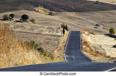 road in Andalucia - curved road in Andalucian landscape