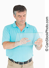 Man pointing on glass slide