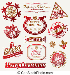 Christmas holidays emblems & labels - Vector set of...