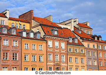 Warsaw, Poland. Old Town - tenements at the main square....