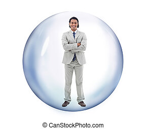 Man standing at a bubble smiling