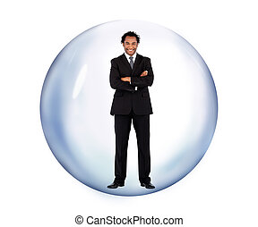 Businessman standing in a bubble