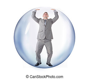 Businessman trying to escape from the bubble