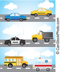 cars vector - cars over street and sky background vector...